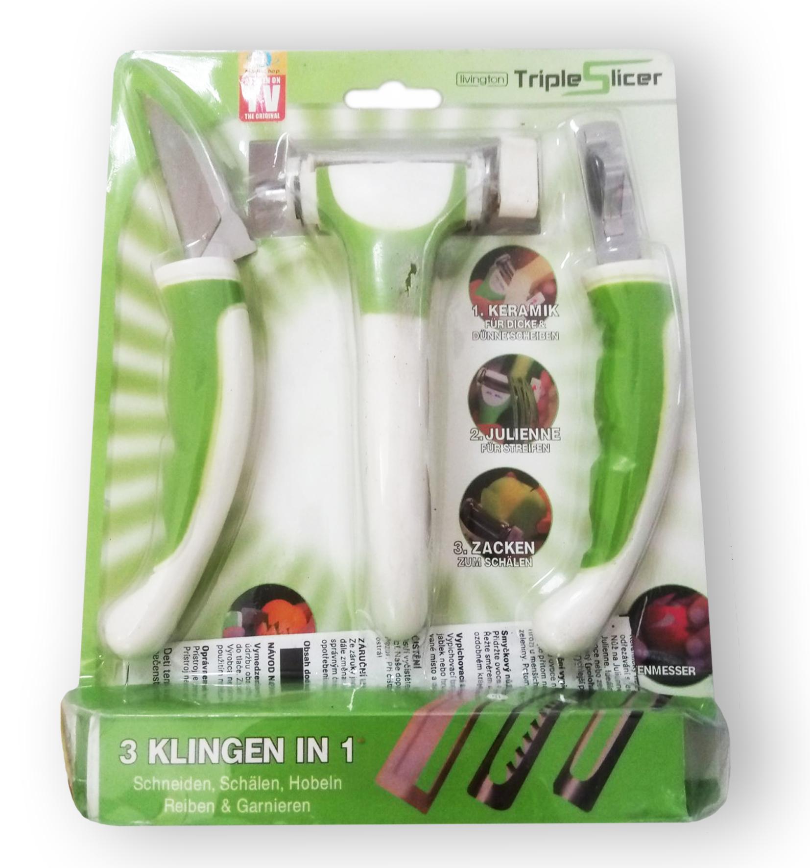 Triple Slicer - набор универсальных ножей для фигурной нарезки овощей и фруктов (Трипл Слайсер)